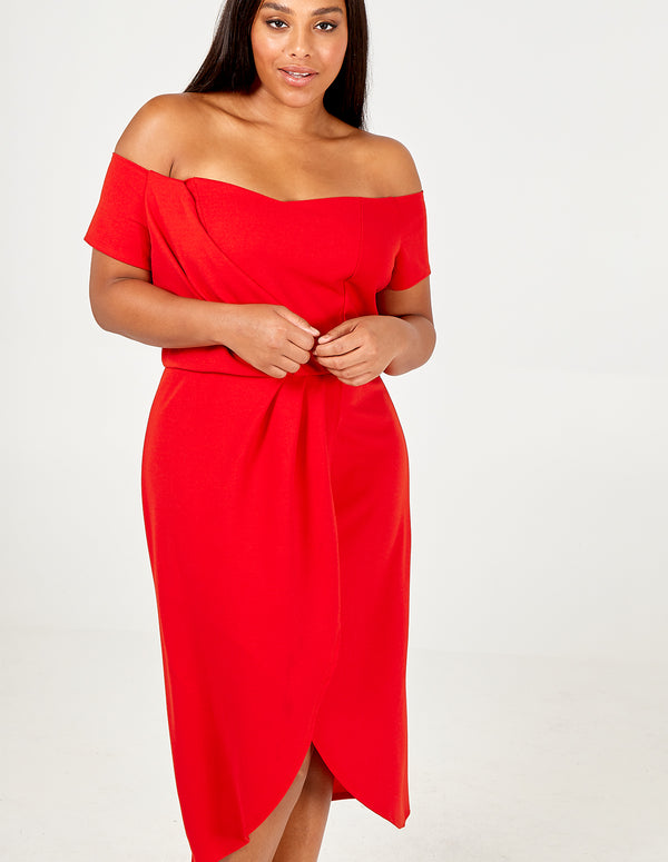 NANCY- Curve Pleated Wrap Off Shoulder Dress