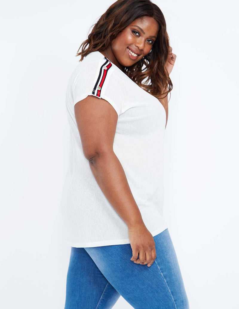 BEVERLEY - Popper Shoulder Oversized Cream Top