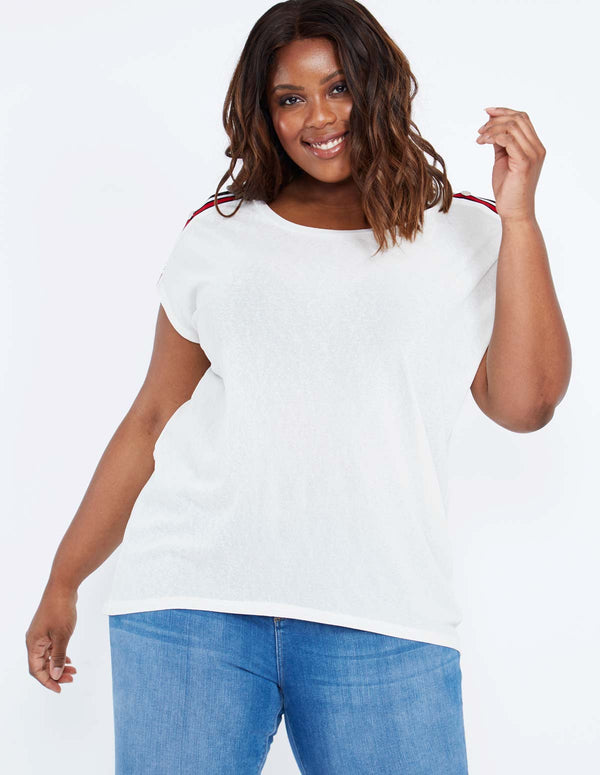BEVERLEY - Popper Shoulder Oversized Top