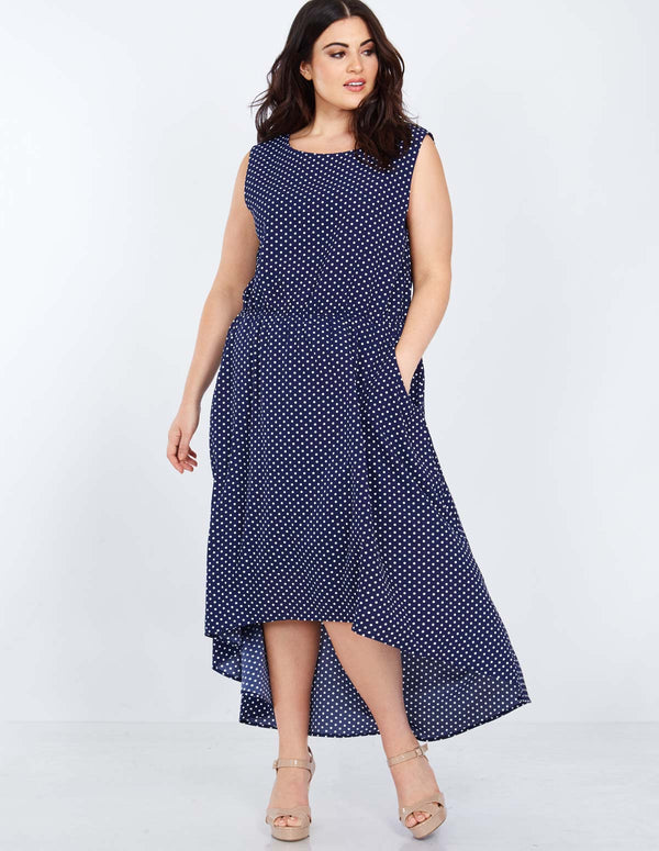 LENORA - Hi-Low Polka Dot Printed Navy Maxi Dress
