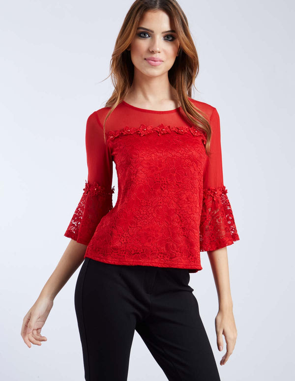 HELMI - Bell Sleeve Lace Flower Trim Red Top