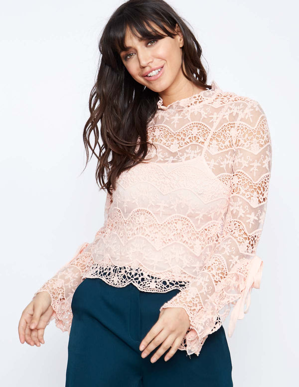 EARIE - Tie Sleeve Frill Blush Top