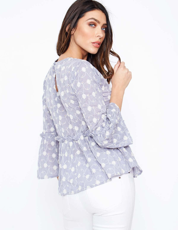 INEZ - Frill Sleeve Peplum Denim Top