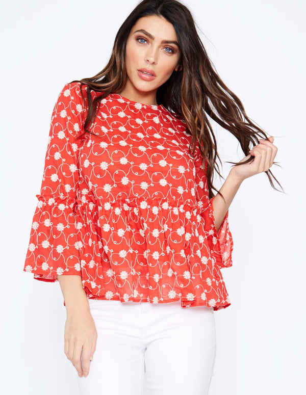 INEZ - Frill Sleeve Peplum Red Top