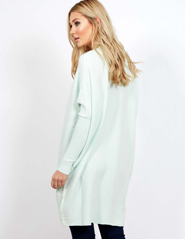 EIGRA - Pearls Sleeve & Neck Grey Jumper