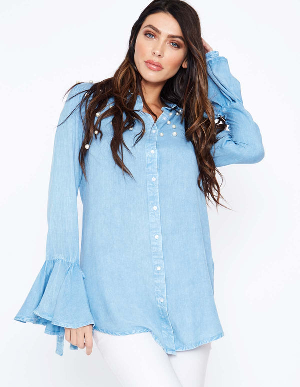 ADETTE - Scatter Pearl Frill Sleeve Shirt