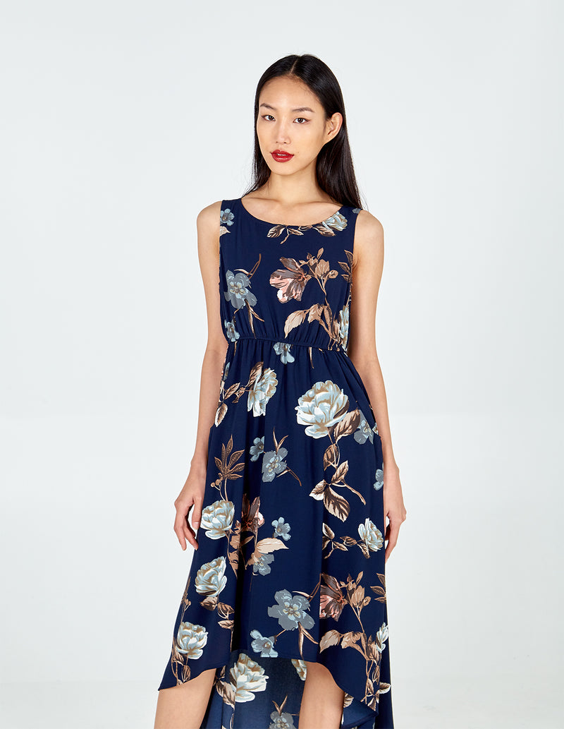 ABHY - Navy Floral Print Maxi Dress