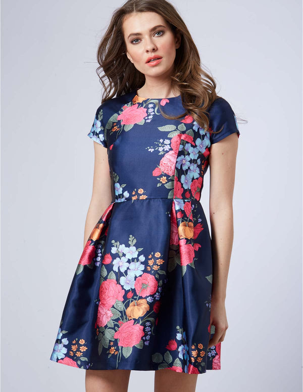 ABINA - Floral Navy Cap Sleeve Flare Dress