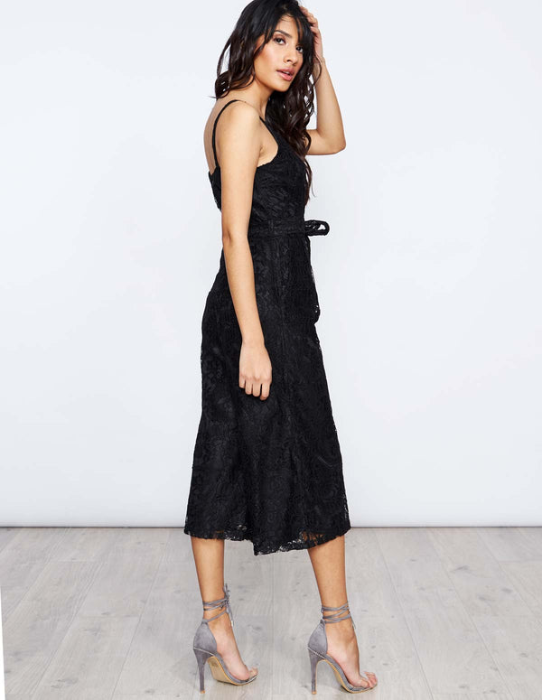 ERICA - Black Lace Wrap Jumpsuit