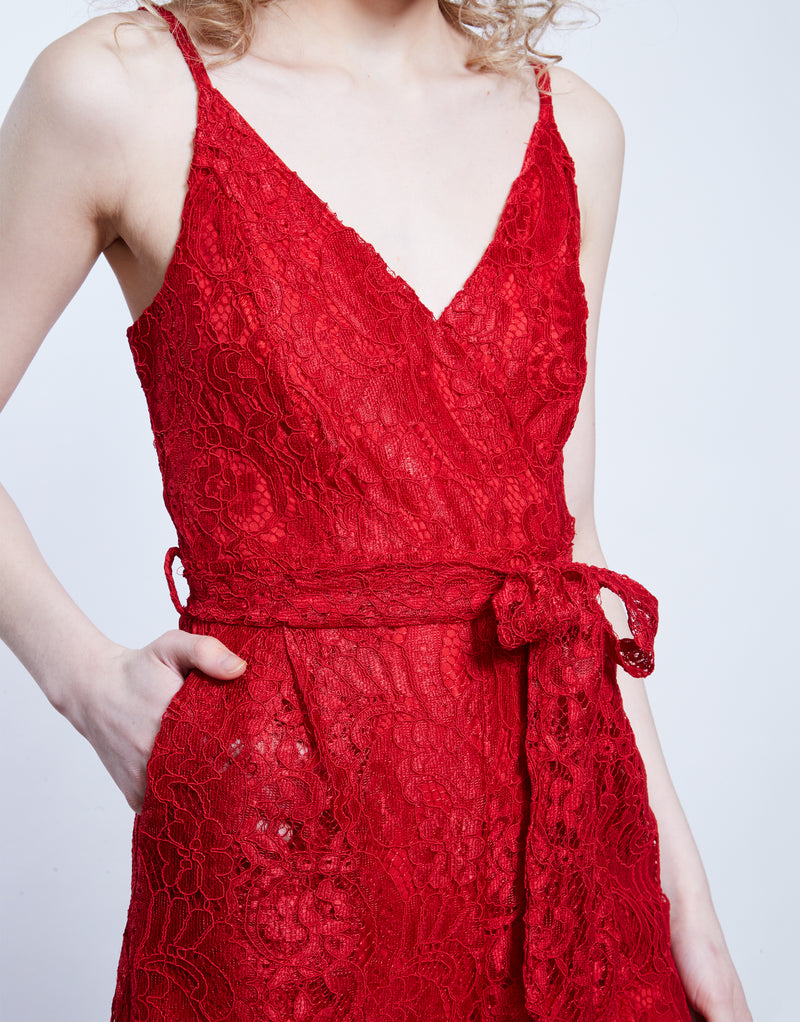 ERICA - Red Lace Wrap Jumpsuit
