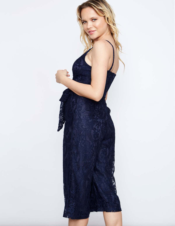 ERICA - Navy Lace Wrap Jumpsuit