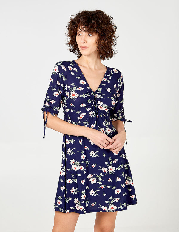BEAU - Ruched Sleeve Tea Dress