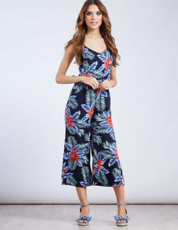 ONEIDA - Ruffle Navy Tropical Print Jumpsuit