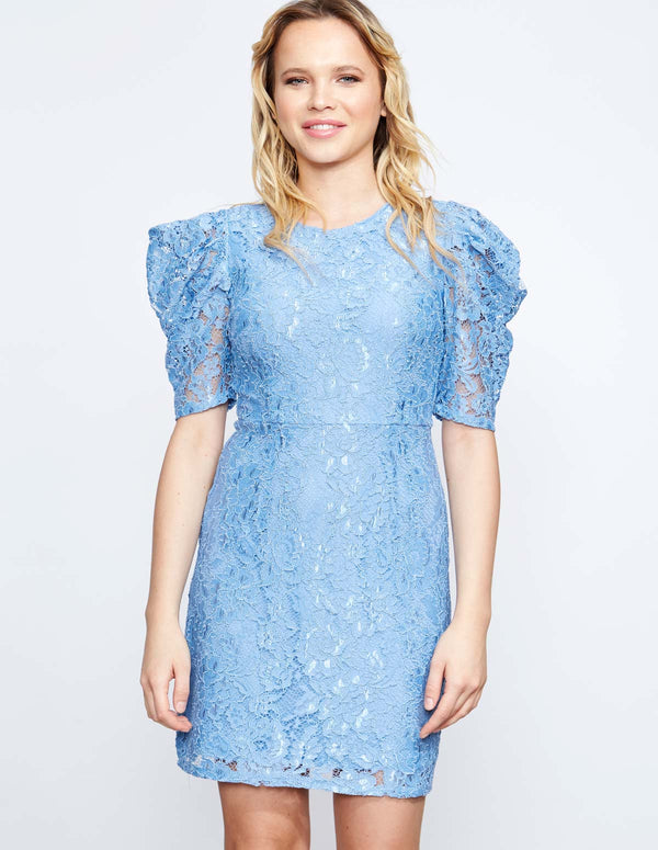 SORREL - Mutton Sleeve Lace Blue Dress