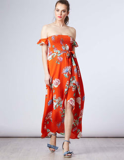 GOLDIE - Bardot Hi Low Maxi Printed Orange Dress