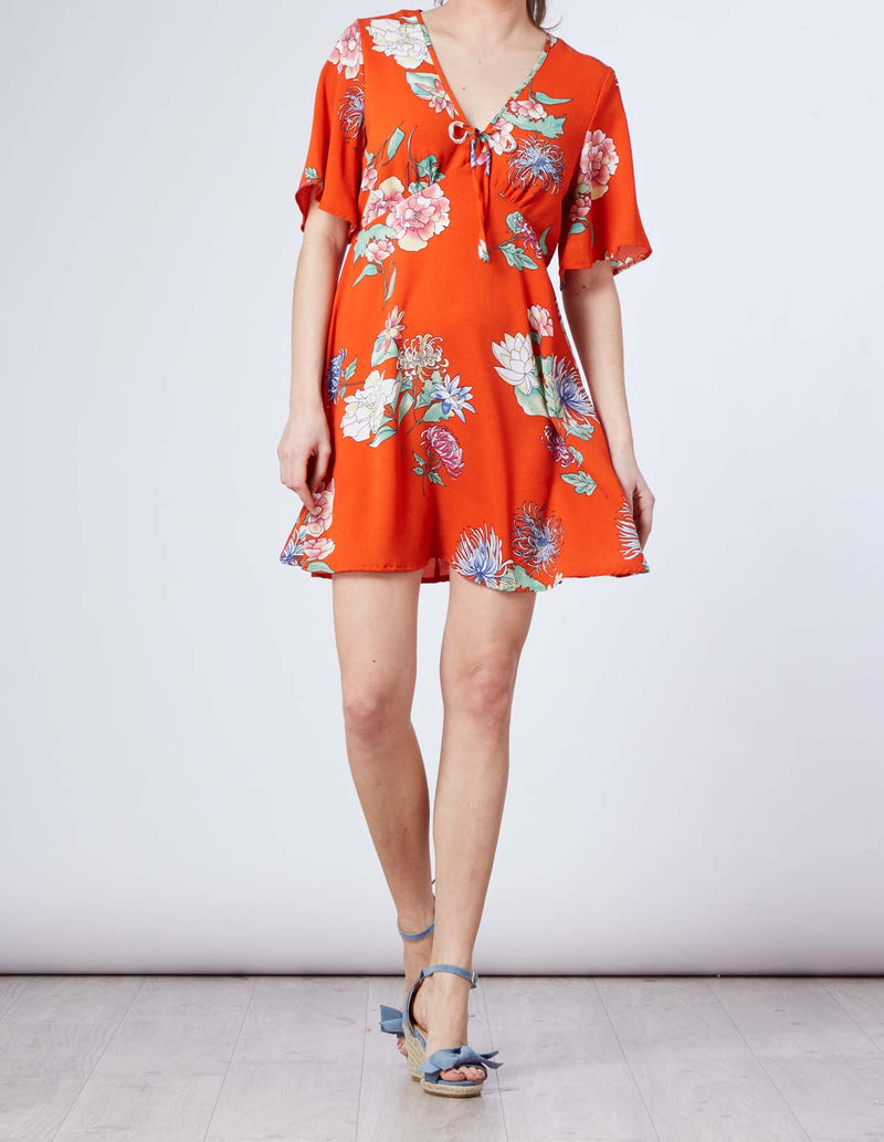 ZAHAVA - Tie Front Tea Red Dress