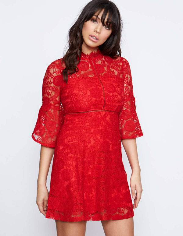 HARTLEY - Red Frill Sleeve Lace Dress
