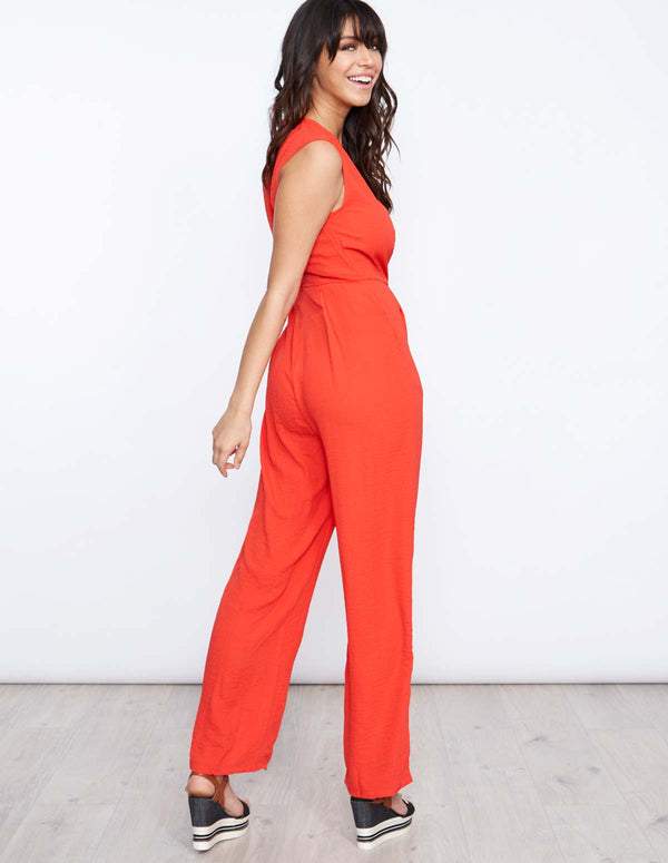 BEATHA - D Ring Wrap Red Jumpsuit