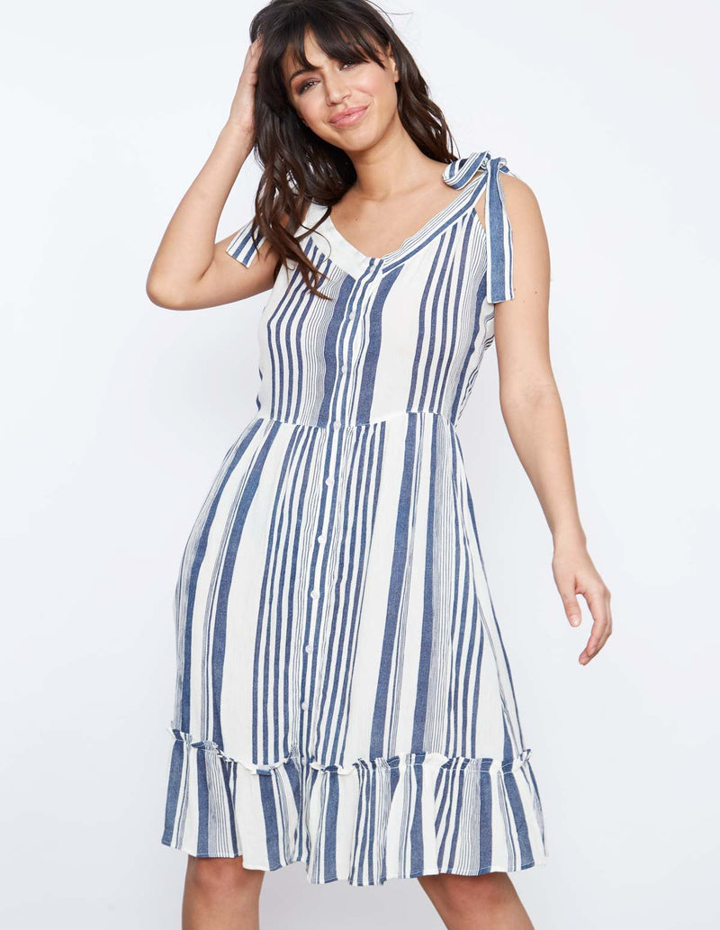 LAURE - Tie Shoulder Button Sun Dress
