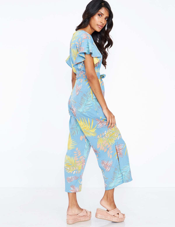 IDALIA - Frill Sleeve Pale Blue Jumpsuit