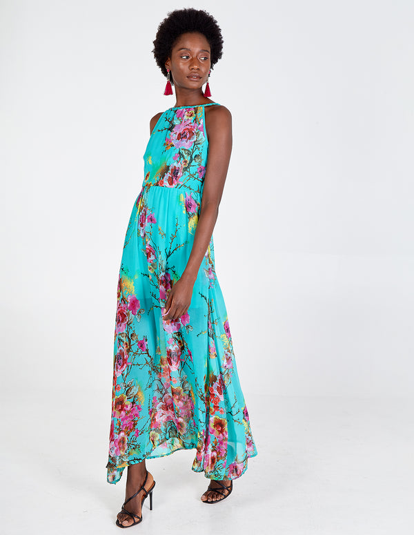 ERYN - Turquoise Floral Printed Maxi Dress