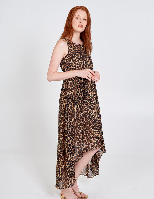 HARPER - Leopard Print High Low Pocket Maxi