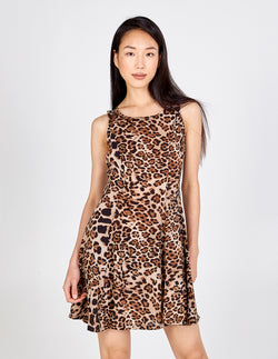 XABRINA - Leopard Print Sleeveless Fit and Flare Dress