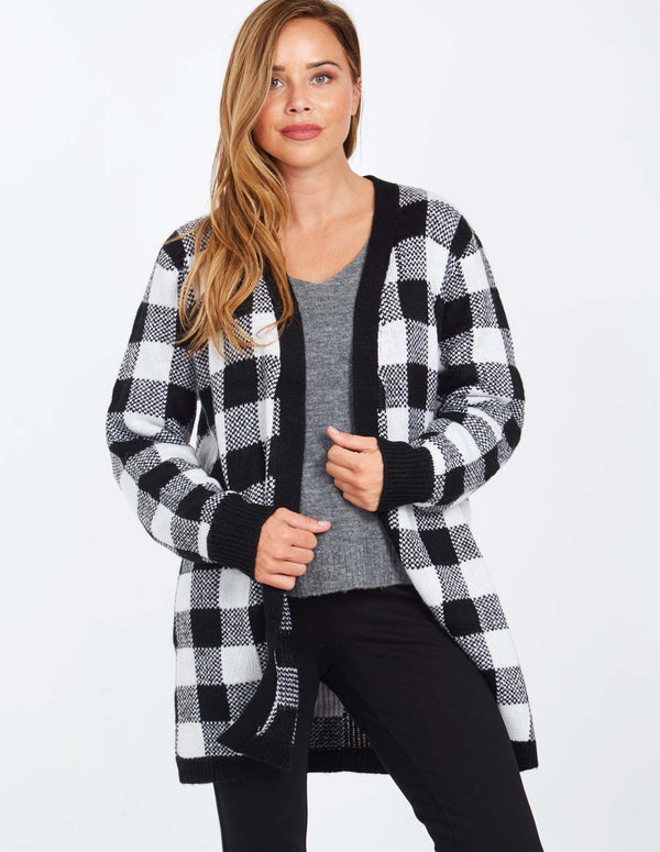 LIBERTY - Long Sleeve Checked Print Cardigan