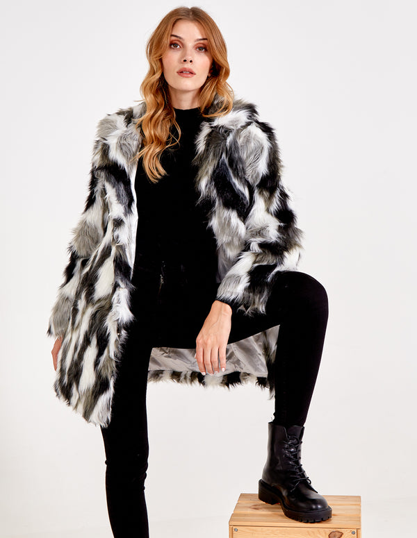 ADA - Abstract Animal Print Fur Coat