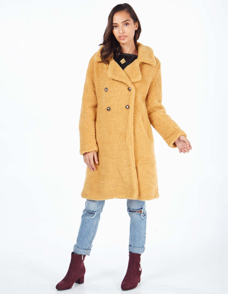 MERIDEL - Mustard Double Breasted Maxi Coat