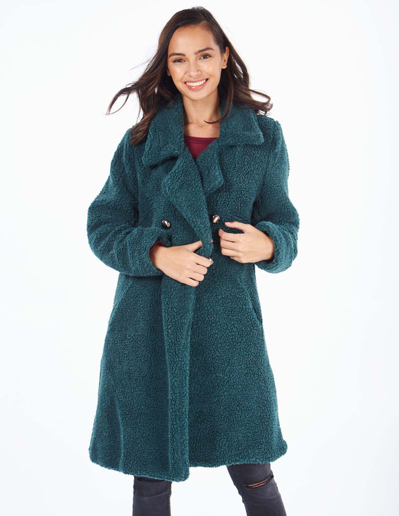 MERIDEL - Green Double Breasted Maxi Coat