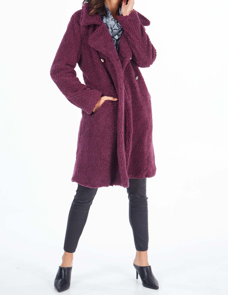 MERIDEL - Mulberry Double Breasted Maxi Coat