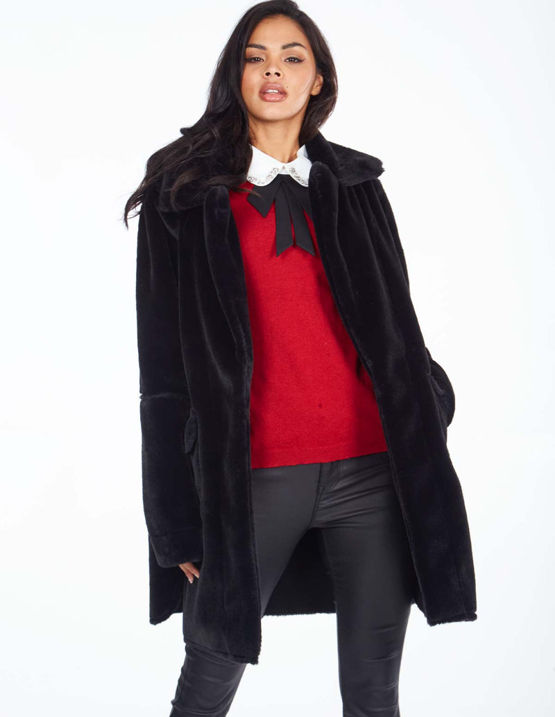 MERCER - Black Reversable Shearling Coat