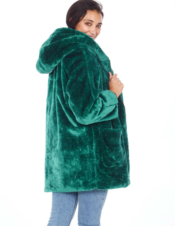 CHRISTY - Hooded Zip Through Green Fur Coat