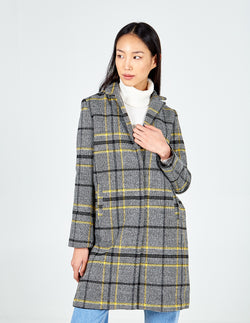 GLORIA - Brushed Check Crombie Coat