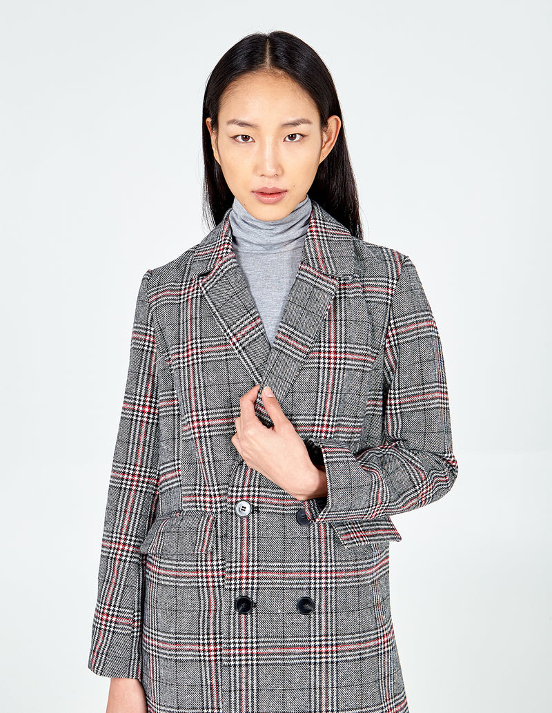 NEOLA - Brushed Check Crombie Coat
