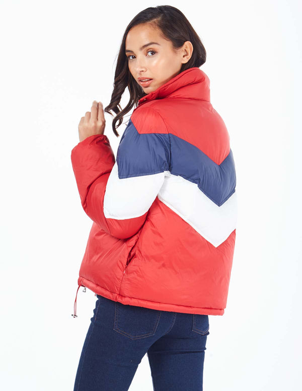 ALEXANDRA - Chevron Ski Red Puffer Jacket