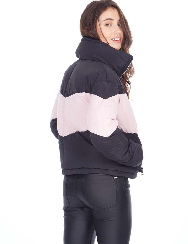 RACHEL - Colour Block Black/Pink Puffer Jacket