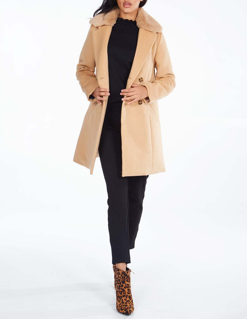 BARBARA - Double Breasted Fur Collar Camel Coat