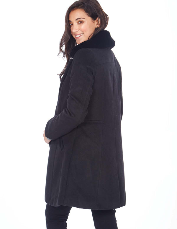 BARBARA - Double Breasted Fur Collar Black Coat