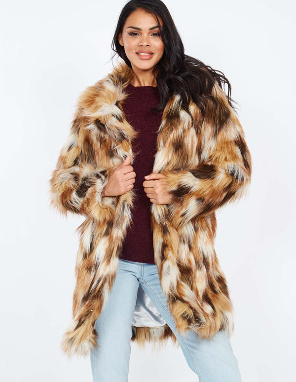 ADELIA - Mixed Fur Tan Coat