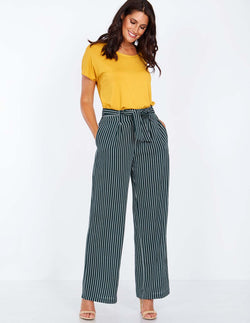 PETUNIA - Paperbag Waist Green Palazzo Trousers