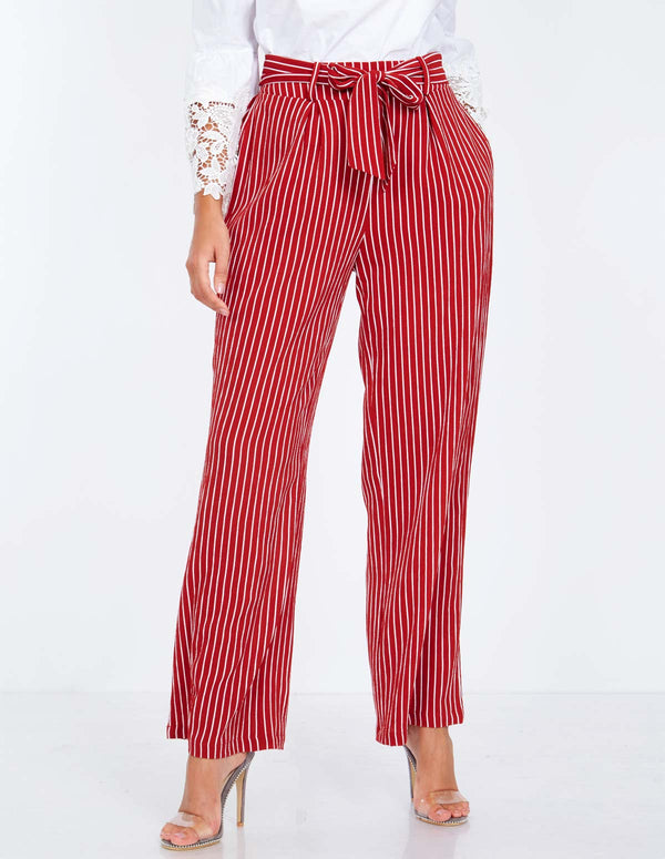 PETUNIA - Paperbag Waist Red Palazzo Trousers