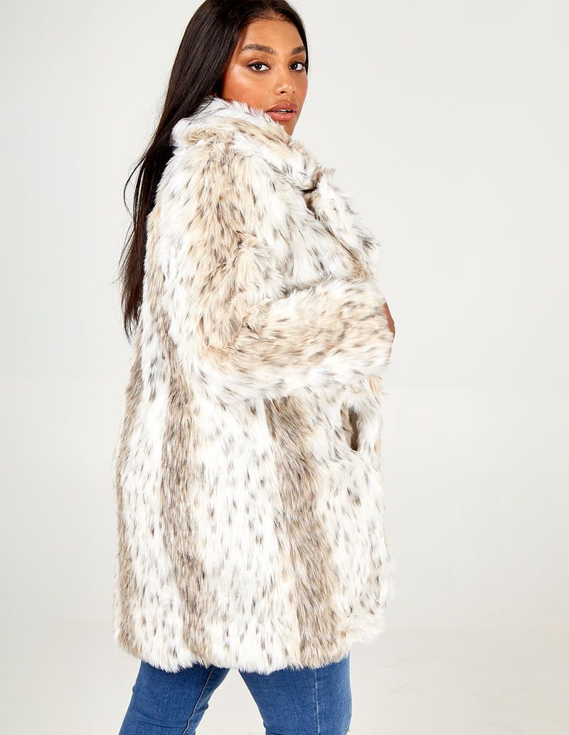 ALICE - Curve Snow Leopard Fur Coat