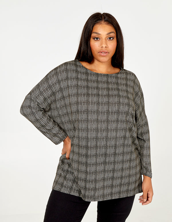 MIYAH - Curve Check Oversize Top