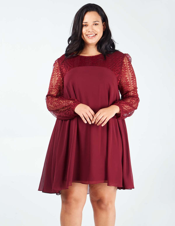 EDURNE - Lace Sleeve Tunic Wine Dress