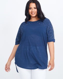 ROXANA - Diamante & Pearls Embellished Oversized Navy Top