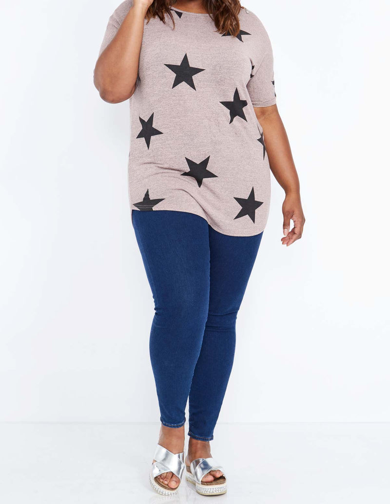JACQUI - Star Print Shoulder Zip Detail Pink Top