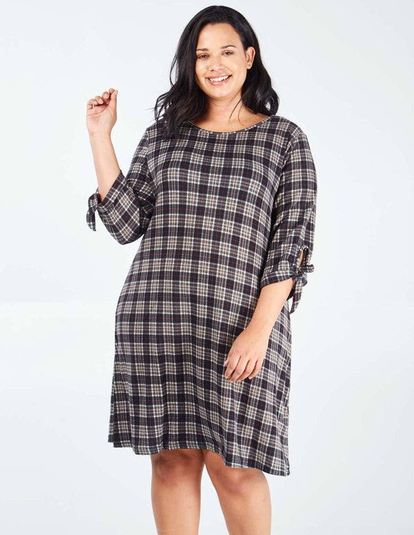 ELLA - Curve Check Soft Touch Tie Sleeve Dress
