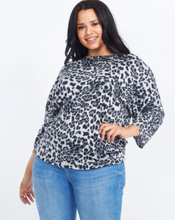 FLORENCE - Zip Back Batwing Leopard Print Grey Top